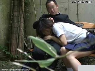 Вуайерист камера скамейка секс подвергаются